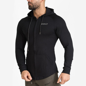 Image 5 - Mannen Katoen Hoodies Fashion Casual Rits Sweatshirt Sportscholen Fitness Bodybuilding Workout Slanke Sportkleding Capuchon Kleding