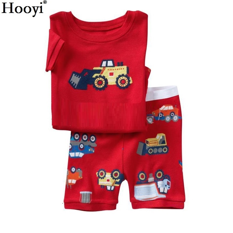 2018 Sommarpojkar Pyjamas Sets Kortärmad Barnsängkläder 100% Cotton Kids Pijama Boy Pajama Red Vehicle Nightgown Bottom