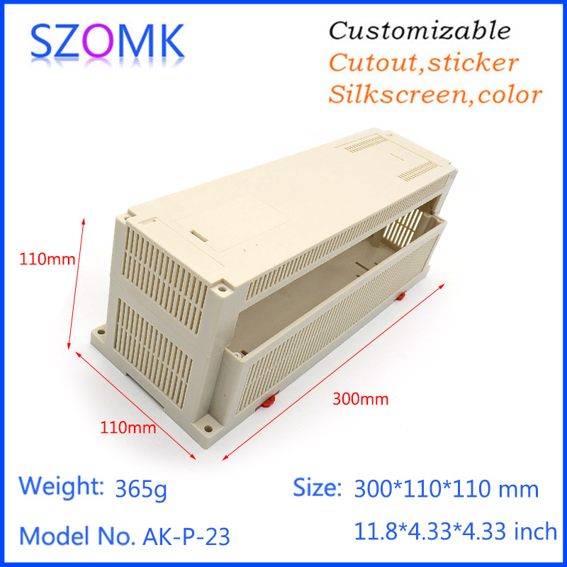 1 pc, szomk plastic box enclosure electronics plc din rail box 300*110*110mm Industrial box electrical junction box project case