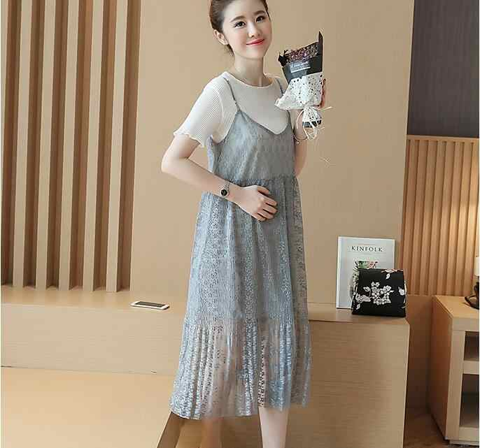 09a3e5556874 ... 2PCS Sets 2018 Summer New Korean Short-sleeved Lace Dress Two-pieces  Maternity Clothes ...
