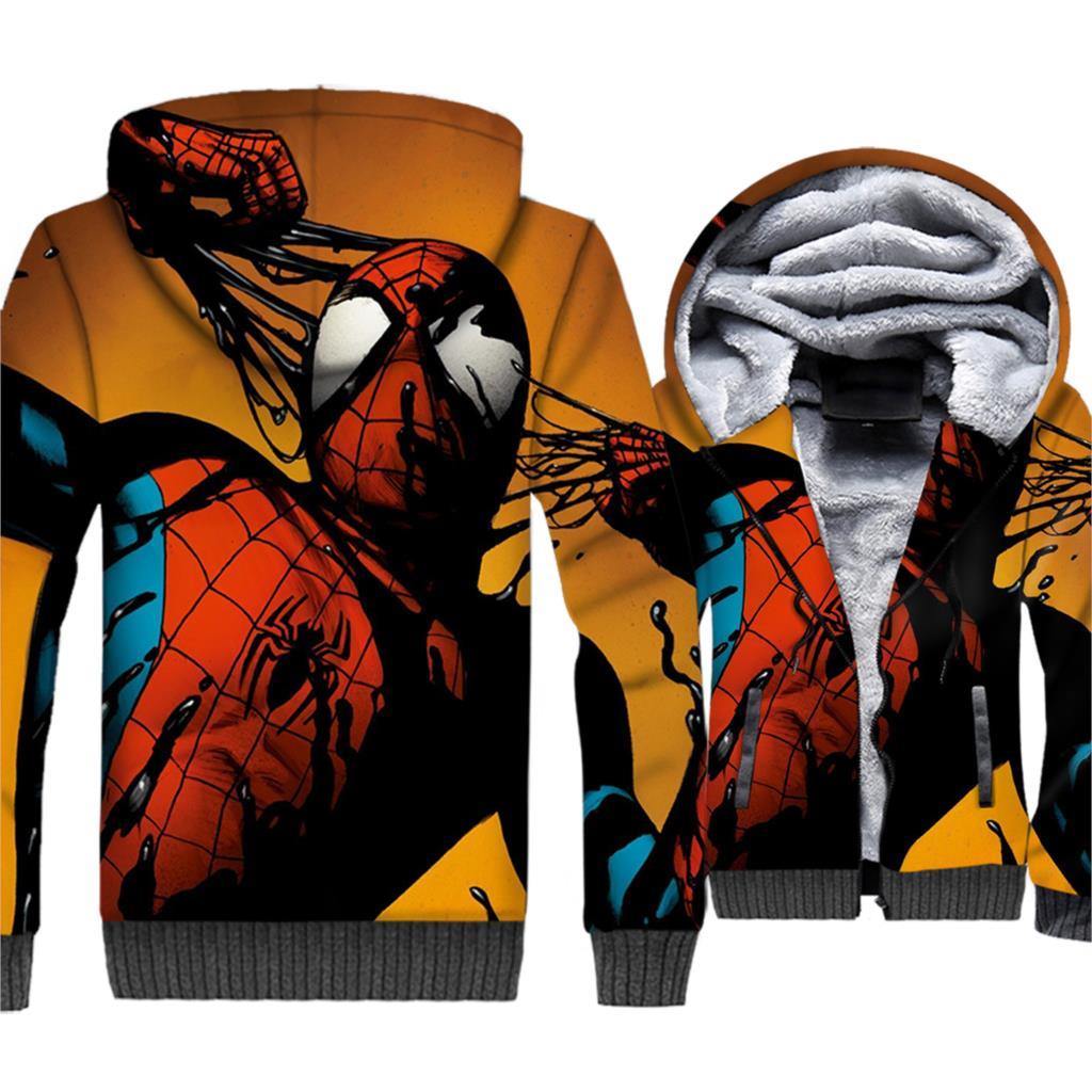Spiderman Hoodies Men Super Hero Hooded Sweatshirt Winter Thick Fleece Warm Zipper 3D Print Coat Movie Sportswear Brand Clothing