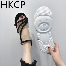HKCP Sandals for women new summer 2019 Korean version with thick-soled bear sandals casual beach shoes C213