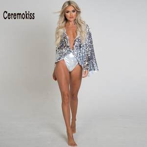 7522aaa82c Ceremokiss New Bikini 2018 Summer Swimwear Women Solid Beach Sexy Swimsuit  Women Sequined Silver One Piece Swimsuit Biquini