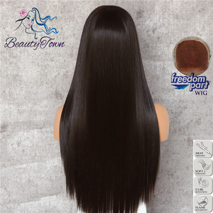 Image 4 - BeautyTown חום שחור 13x6 גדול תחרה משלוח חלק Futura חום עמיד ללא סבך שיער יומי איפור שכבה סינטטי תחרה מול פאה
