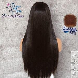 Image 4 - BeautyTown براون الأسود 13x6 كبير الدانتيل الحرة جزء فوتورا مقاومة للحرارة لا تشابك الشعر طبقة ماكياج اليومية الاصطناعية الدانتيل شعر مستعار أمامي