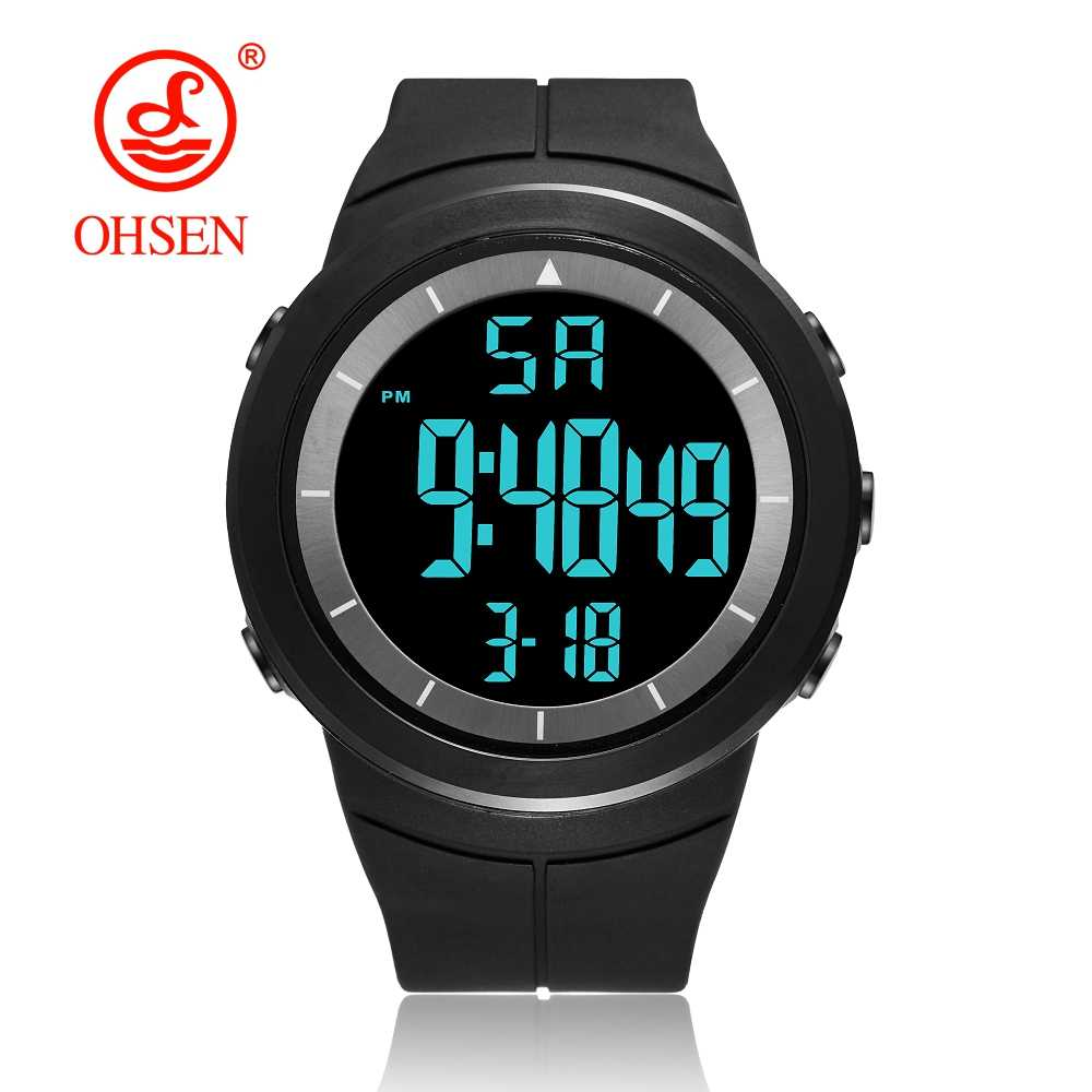 NEW OHSEN Digital Military Sports Watches Men Alarm 50M Waterproof LED Light Shock Black Fashion Wristwatches Relogio Masculino