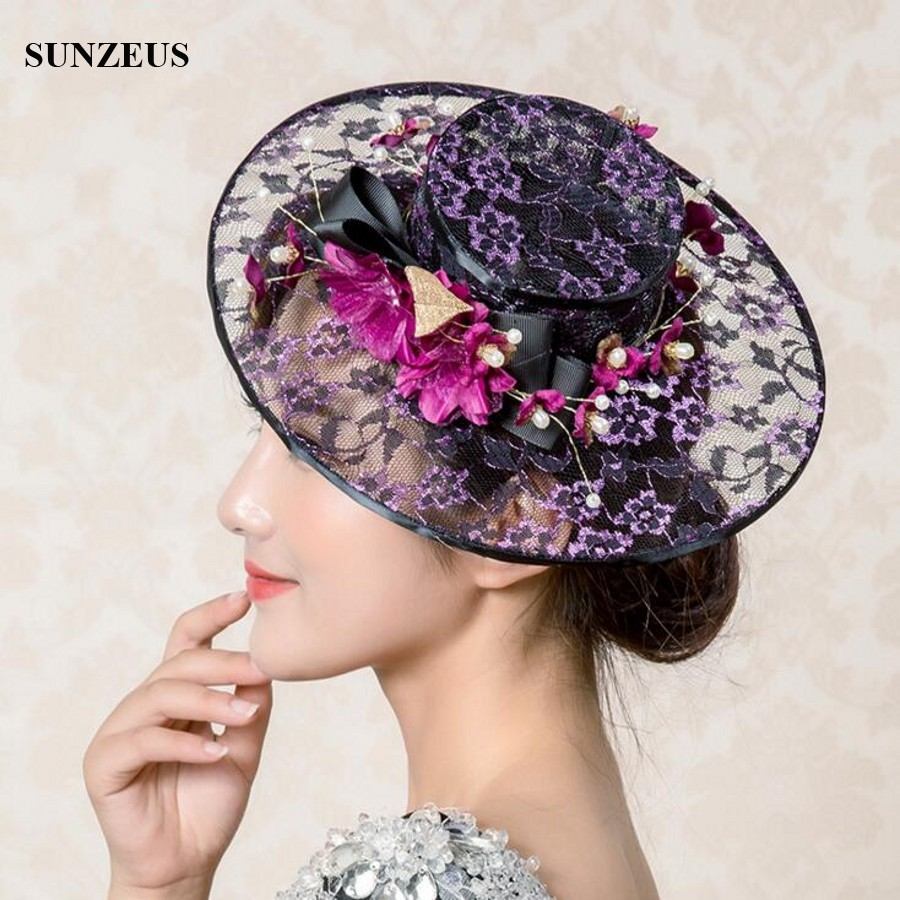 New 2017 Vintage Lace Hats For Wedding With Hand-made Flowers Black Bridal Hat Party Accessories Online SQ036