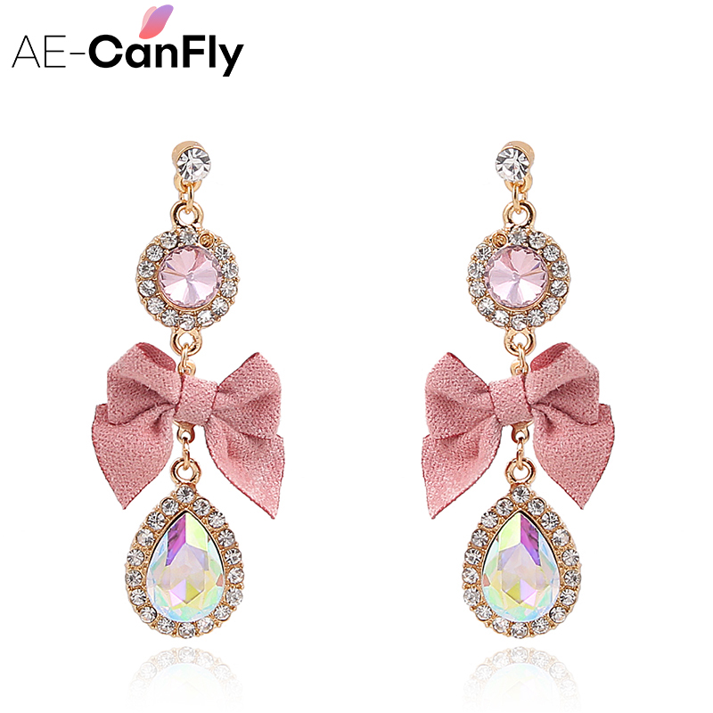 AE-CANFLY Drop-Earring Crystal Wholesale Jewelry Bling Pink Korean Pendientes Bow Brincos