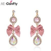 AE-CANFLY 2018 coreano dulce Rosa arco gota pendiente Bling cristal largo pendientes brincos pendientes al por mayor joyería