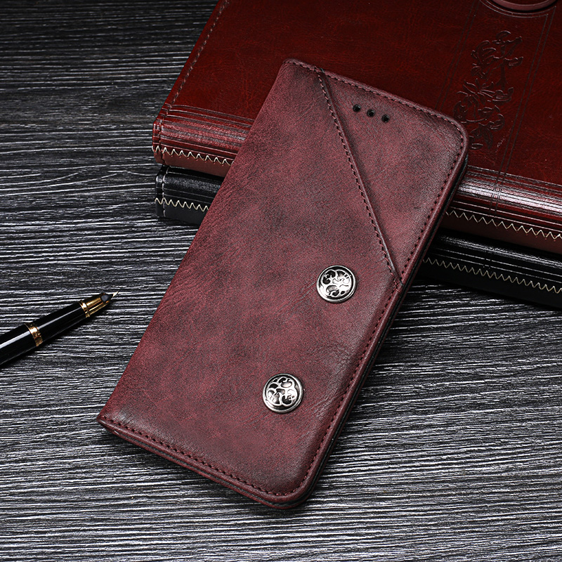 For Cubot P20 Case Retro Rivet PU Leather Flip Stand Wallet Phone Fundas Cover for Cubot P20 Case Capa Accessories