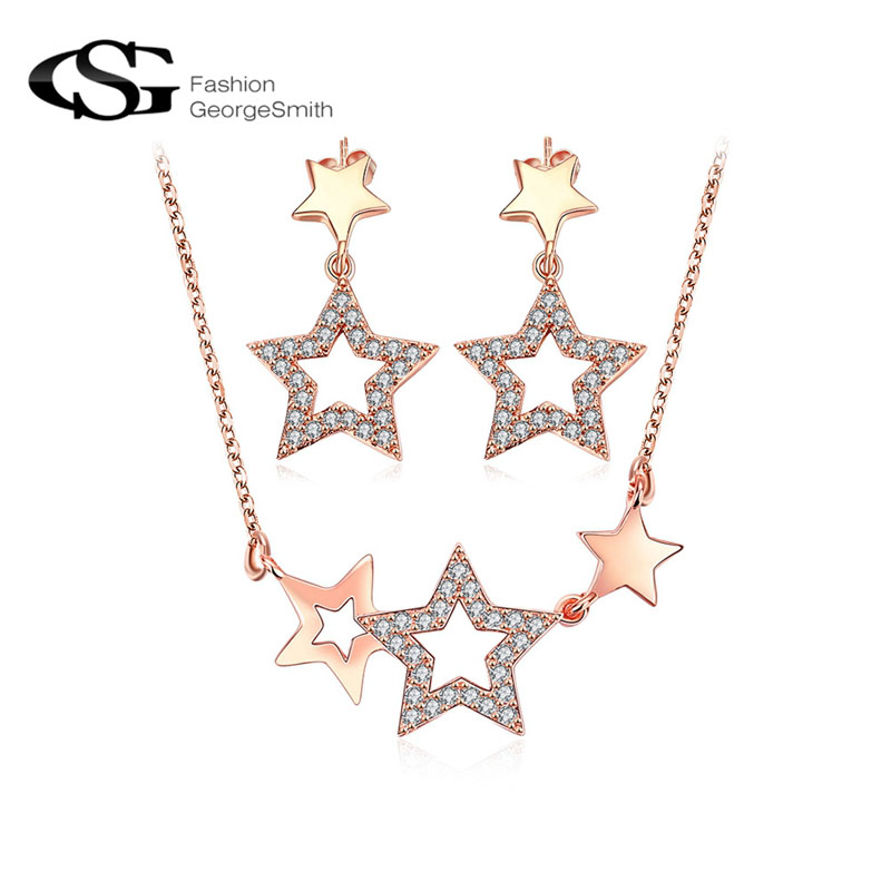 GS Fashion Jewelry Set Bright Stars Stud Earrings/Chain Necklace Jewellry Set Rose Gold Color Wedding Rings Engagement Necklace