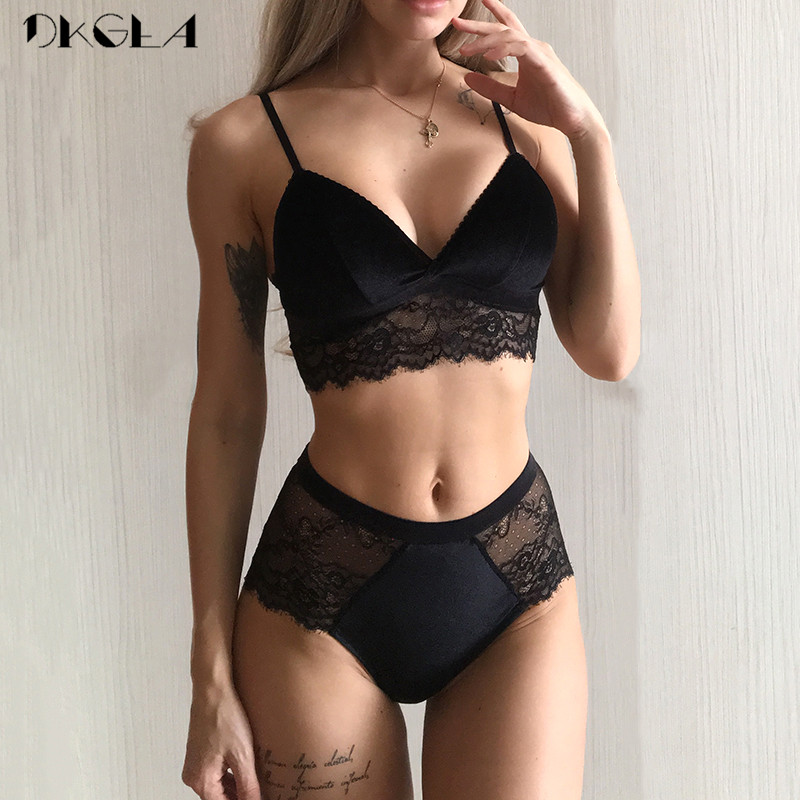Embroidery Lingerie Black Velvet Women Bra Set Lace Brassiere Sexy Underwear Set Cotton Wire Free Bra Panties Sets High Waist