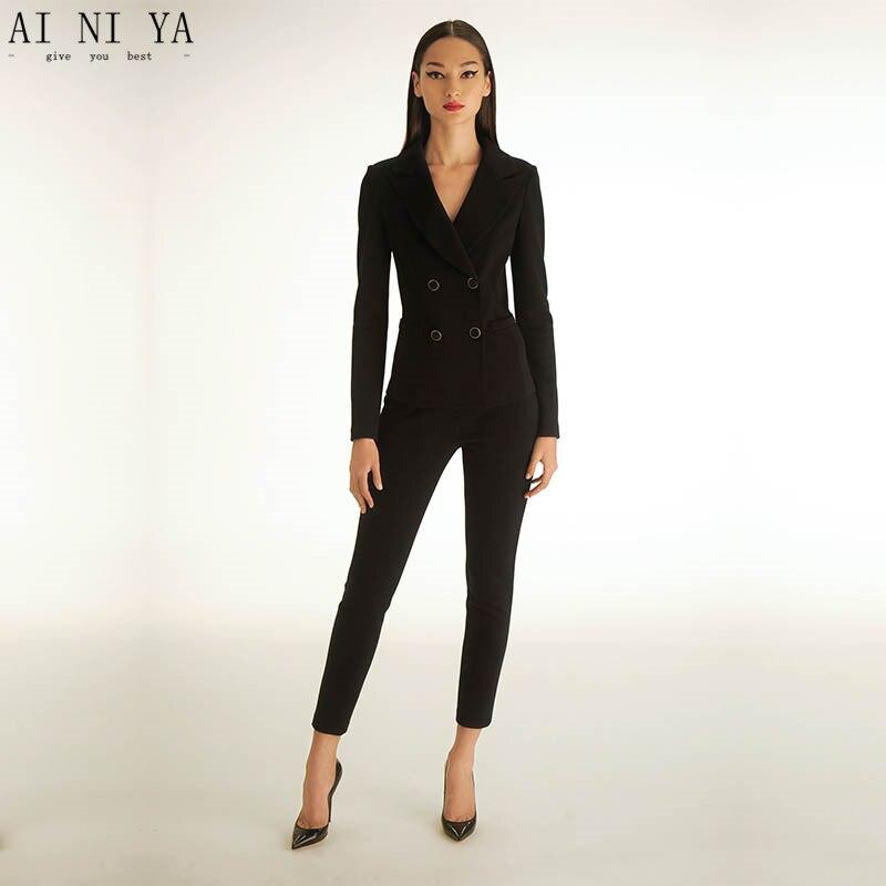 buy black womens tuxedo 2 piece set women business suit female office uniform. Black Bedroom Furniture Sets. Home Design Ideas