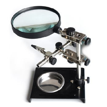 SY-209 Desk Magnifier Soldering Iron Stand Helping Clamp Vise Clip Tool 3X Magnifying Glass Adjustable