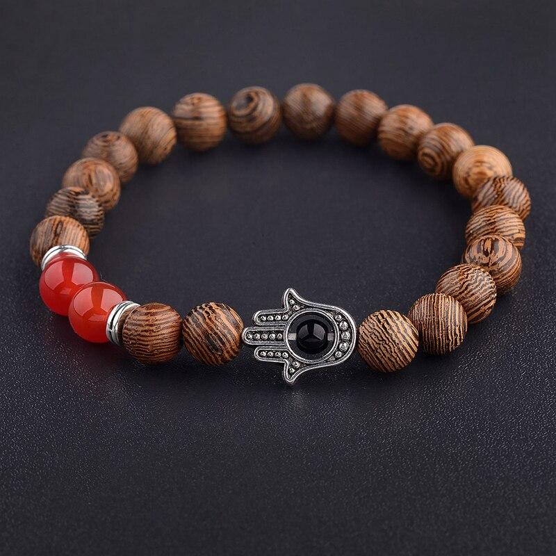 Image 4 - 2020 Ethnic Women 8mm Brown Wood Beads Bracelets Silver