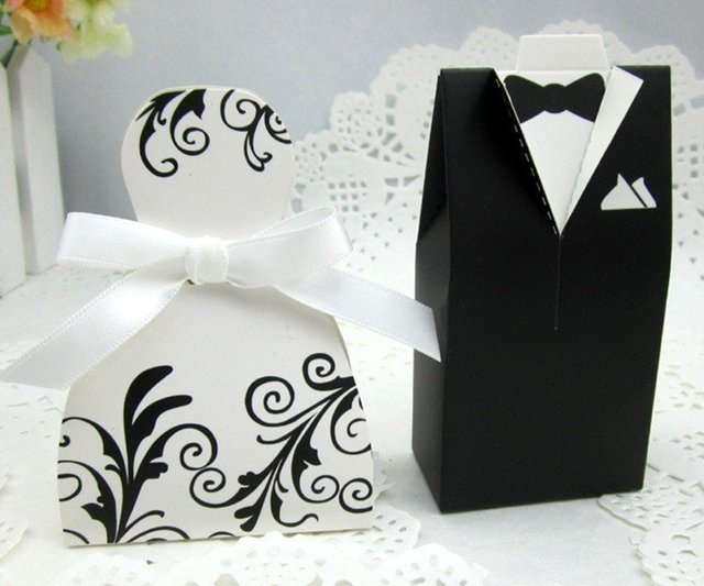 Wedding Decoration Gift Box 50pcs25 Pairs Bride And Groom Box Candy