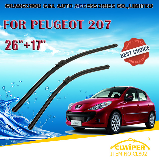"Escovas Para PEUGEOT 207 (2006-2012) 2007 2008 2009 2010 2011 Car Windscreen Windshield Wiper limpador Blade 26 ""+ 17"" Carros estilo"