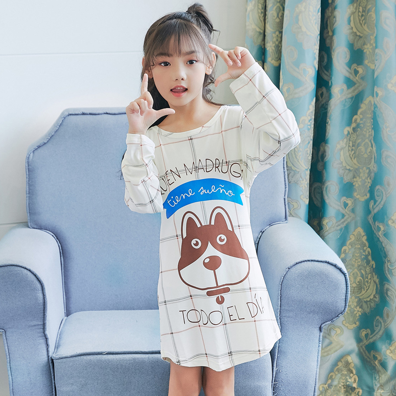 Princess nightgown 2018 autum long-sleeved printing pajamas children's clothing girls home service Gifts for children nightdress marulong s0002 women s fashionable flower pattern short sleeved nightdress green multi color