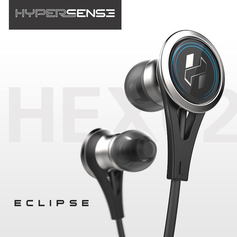 New Hypersense Eclipse HEX02 Earbuds Earphone Dynamic HIFI Stainless Steel Flat Head Plug Earphone With Mic Free Shipping
