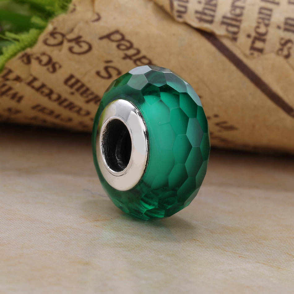 ae079777431 ... Authentic S925 Sterling Silver DIY Jewelry Murano Glass Beads fit Pandora  Bracelet Bangle Fascinating Green Charm