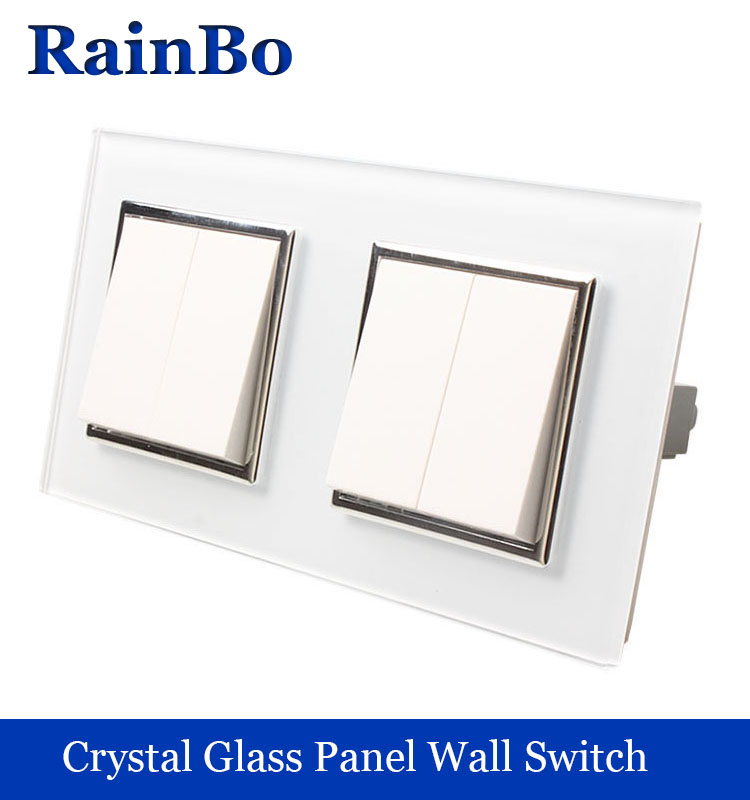 rainbo brand 2Frame Luxury white crystal glass fashion panel,Push button wall light switch 2gang1way+2gang1way A272121W/B  mvava push button light wall switch 3 gang 1 way 16a 250v luxury white crystal glass panel factory direct sale free shipping