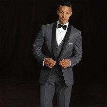 2bbabfd0887e3 Moda trendi siyah erkek takım elbise erkek düğün yeni Lang sağdıç elbise  ince takım elbise 3 adet set (ceket + yelek + pantolon)