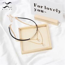 Gold collier Jewelry copper women's necklaces pendant Shell chain gift for girl Seaside beach jewelry 2019 Fashion Bijoux choker(China)