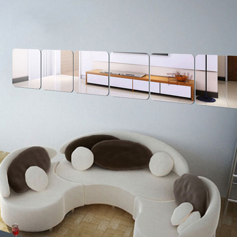 6pcs Square Mirror Wall Sticker Removable Ceiling Tiles Mirror