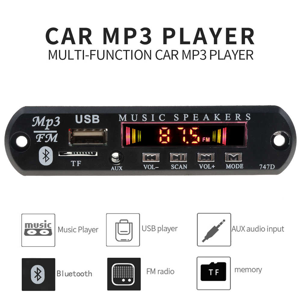 Bluetooth TF 3,5mm AUX USB kit de coche de Audio MP3 jugador decodificador Junta módulo FM Radio módulo receptor para IPhone 8 XS Xiaomi mi