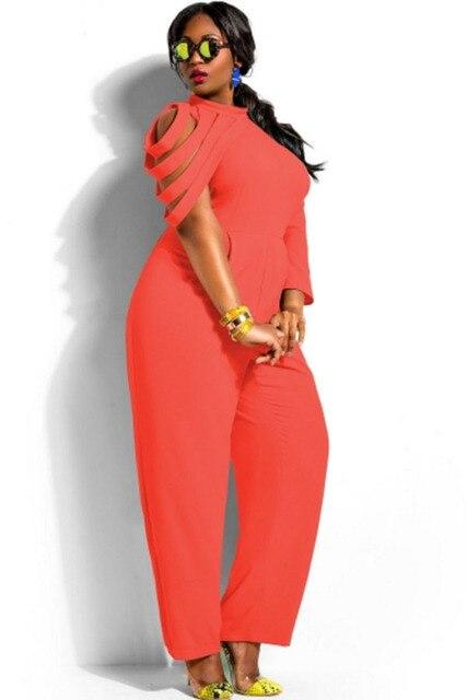 3f109fdf98d Wholesale Cheap Orange/White Asymmetric Sleeves High Waist Plus Size  Jumpsuit LC60648 Stylish One-Sleeved Macacao Feminino 2015
