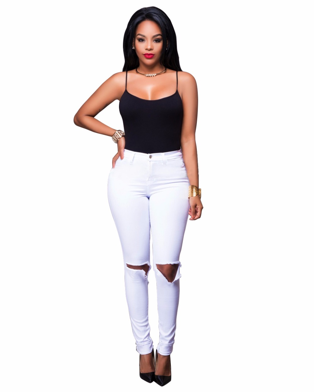 2019 High Waisted Ripped Jeans S 2xl White Ripped Hole Distressed