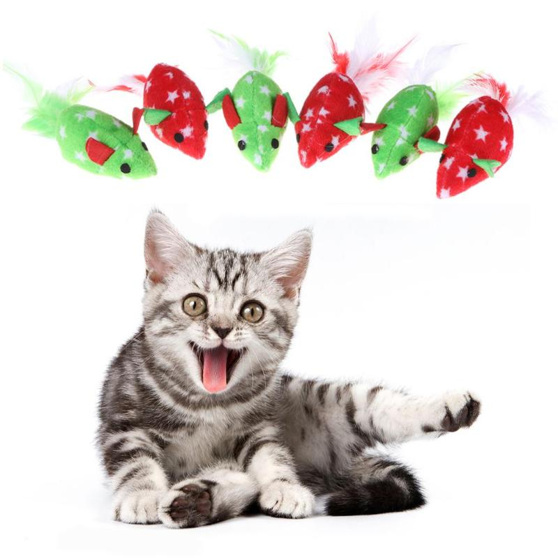 6pcs/set Cats Toys Christmas Mice Soft Plush Cotton Cat Chew Squeeze Plaything Pet Toys Kitten Cat Toy