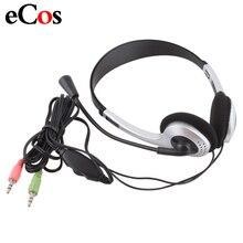 Дешевые Проводные Игровые наушники, наушники с микрофоном, штекер 3,5 мм, стандартный Skype для ПК, компьютера, ноутбука #21228