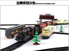 9.4M Classical Train Model Simulated Electric Track High-speed Train Retro-vintage Steam Toy Track Railway street View Boy Toys steam train vintage pocket watch