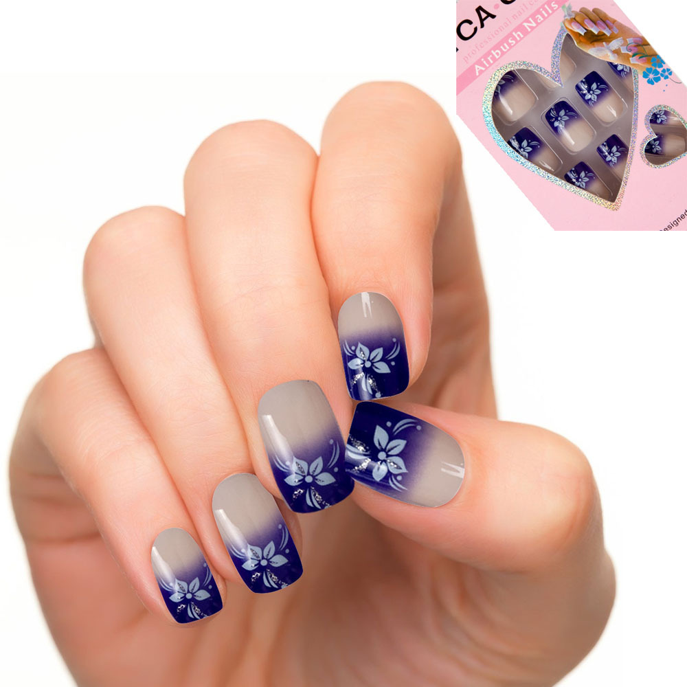 24pcs set pre design acrylic nail tips false nail french style faux ongles blue flower style. Black Bedroom Furniture Sets. Home Design Ideas
