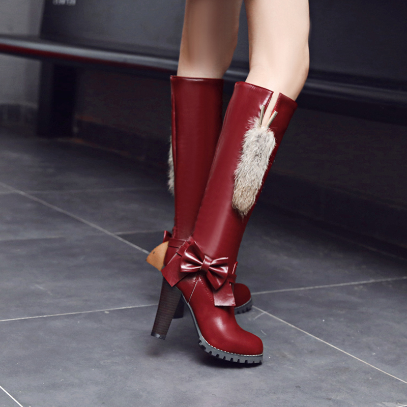 ความตั้งใจเดิมผู้หญิงเข่า รองเท้าบูทสูง Nice Bowtie รอบ Toe ส้นสูงสีดำสีขาวสีน้ำตาลไวน์สีแดงรองเท้าผู้หญิงขนาด 4 13-ใน รองเท้าบู๊ทสูงระดับเข่า จาก รองเท้า บน   3