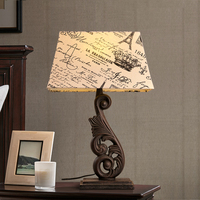 American country retro table lamps bedroom bedside hollowed out iron art lampshade fabric cast iron desk lamps Z120437