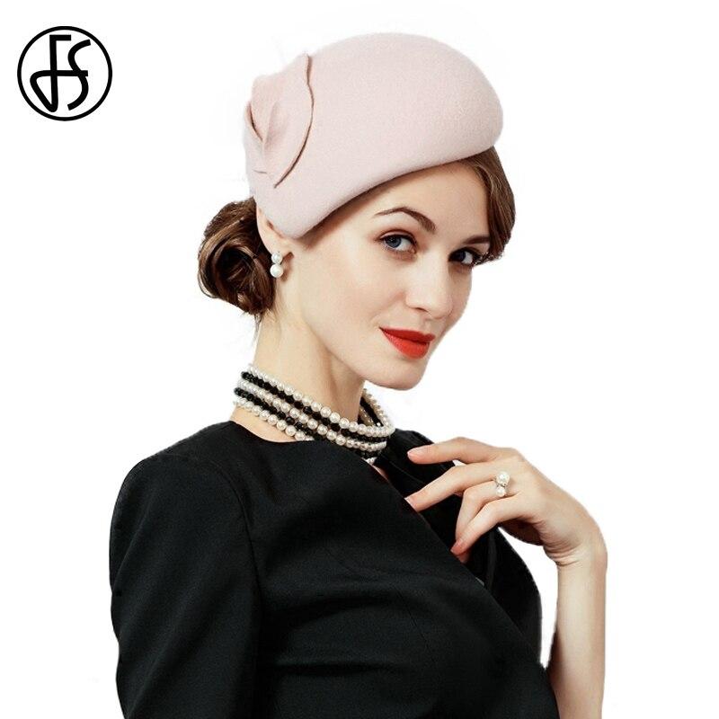 FS Fascinator de fieltro de lana sombrero mujeres Rosa Pillbox sombreros  negro señoras Vintage Cocktail boda 7ffc324e351