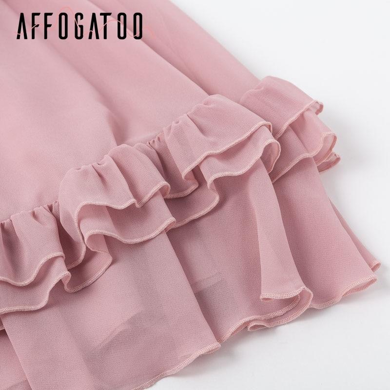 Affogatoo Elegant ruffle off shoulder strap summer pink dress women Casual chiffon pleated blue dress Loose holiday short dress 12