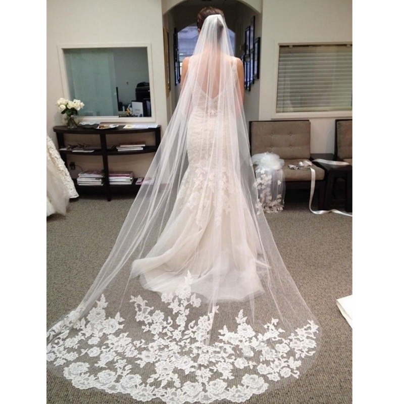 Ruthshen Cathedral Bridal Veils Blusher Wedding Veils 2 Tiers Lace Long With Comb White / Ivory Bridal Wedding Veil