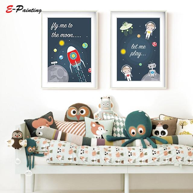 Modern Canvas Art E Nursery Wall Prints Fly Me To The Moon Star Decor