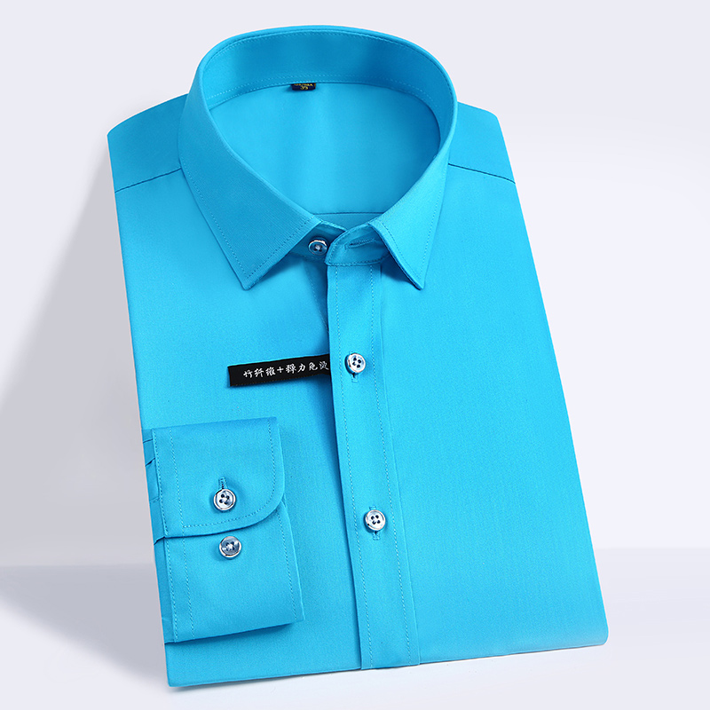 High Quality Classic Style Bamboo Fiber Men Dress Shirt Solid Color Men's Social Shirts Office Wear Easy Care(Regular Fit) 8