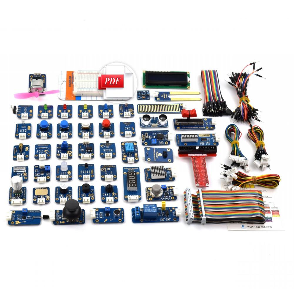 Prix pour Adeept BRICOLAGE Électrique Ultime 46 dans Capteur Modules Kit pour Raspberry Pi 3 2 B/B + avec Guide livraison gratuite Livre diykit