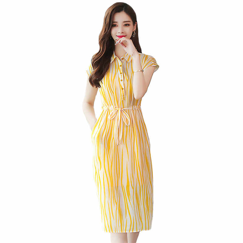Summer Dress Women Yellow Stripe S-2XL Plus Size Shirt Dresses 2019 New  Korean Office Elegant Bow Slim Short Sleeve Dress LR213