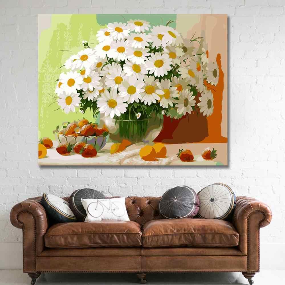 Ween Liar Bunga Daisy-Diy Dibingkai Minyak Lukisan Oleh Nomor Kit Dinding Seni Gambar kanvas Cat dengan Angka untuk Ruang Tamu 40X50 Cm