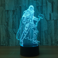 3D LED Thor Night Light Creative 7 Color Changing Figures Nightlight For Kids Gifts Lampara Table