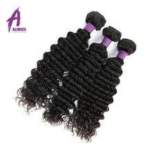 Alimice Hair Indian Hair Deep Wave Extensions 100 Human Hair Weave Bundles Non Remy Hair Weaves