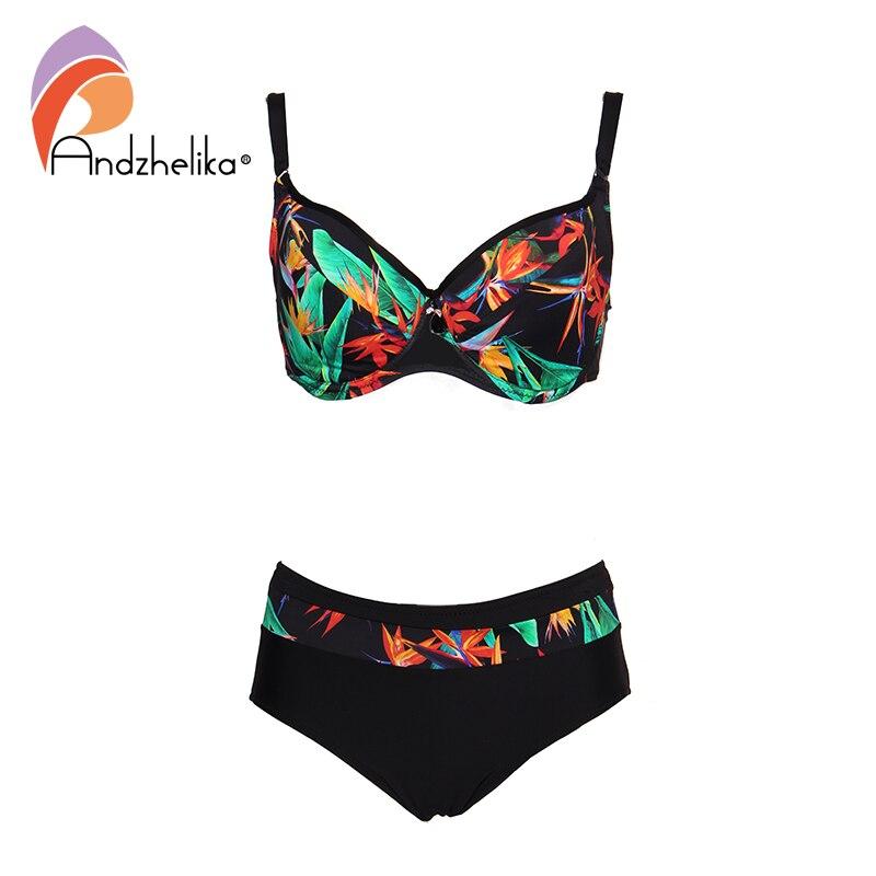 Andzhelika 2019 Sexy Print Plus Size Bikinis Women Swimsuit Underwire G Cups Bikini Set Swimwear Bathing Suits Monokin