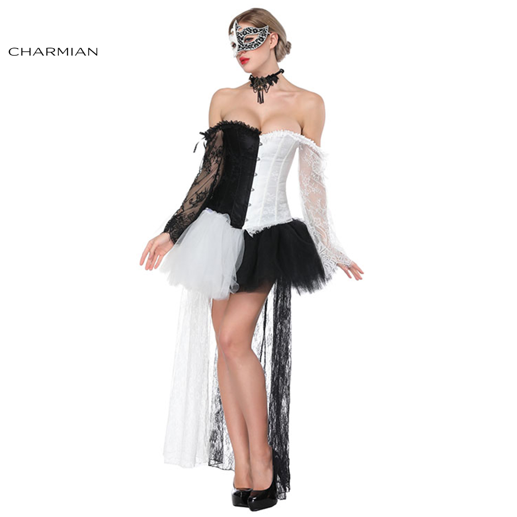 Charmian Women s Sexy Retro Gothic Overbust Corset Dress Black White Lace Outfit Corsets and Bustiers