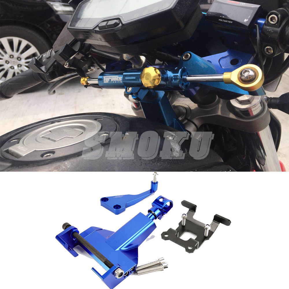 For Yamaha MT07 MT 07 MT-07 FZ07 2014-2017 Motorcycle CNC Aluminum Alloy Steering Stabilizer Damper Bracket Mounting Kits недорго, оригинальная цена